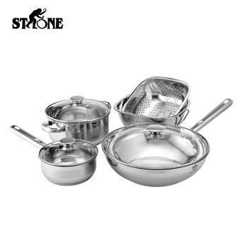 【橙屋】司顿(STONE) 中式锅具5件套STH065 三层复底不锈钢铝合金炒锅+汤锅+奶锅厨具五件套