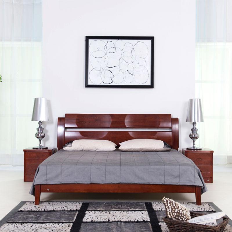 华日家居旭日现代中式时尚全实木1.8米双人床婚床大床o1-2