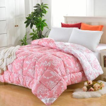 红富士家纺双人秋冬全棉被子床上用品纯棉斜纹印花加厚特保暖被芯
