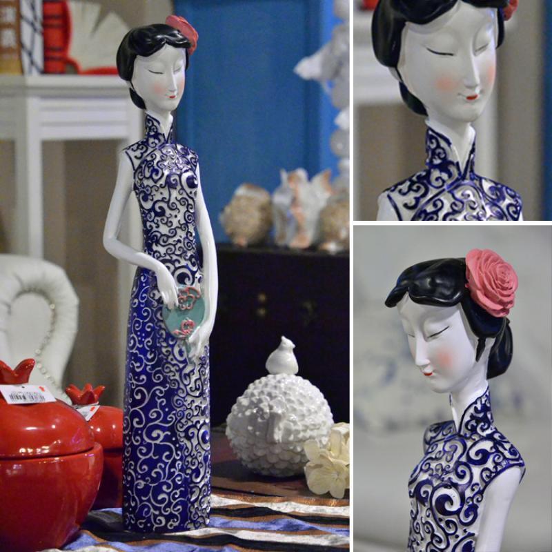 代仕女人物旗袍花纹工艺品