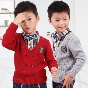 秋冬新款男童毛衣英伦衬衫领假两件正品套头针织衫小中童装W60