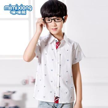 咪咪熊童装夏装新款纯棉男童衬衫儿童纯白修身短袖上衣63S011