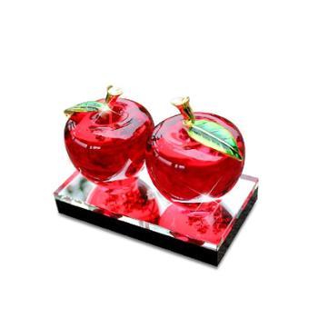锋行汽车饰品摆件水晶苹果高档车载香水座车内饰装饰