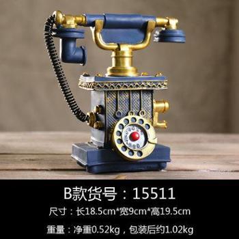 欧式创意装饰品家居工艺品摆设复古电话机模型摆件服装店柜台摆饰