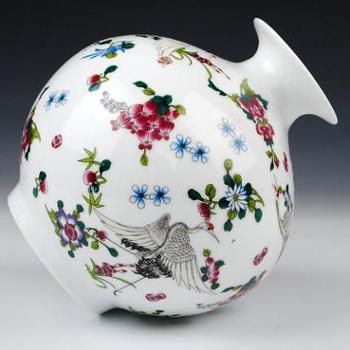 景德镇陶瓷器夜光花瓶珐琅彩发光瓶子客厅家居装饰工艺品摆件