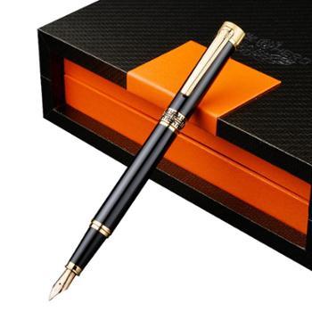 英雄钢笔1316A镀金黑亮漆14K金笔办公用练字墨水笔商务礼品