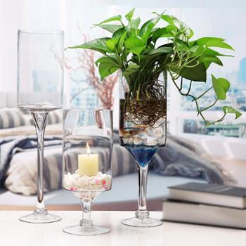 欧式家居婚庆装饰摆件透明玻璃花瓶红酒杯装饰水培绿萝工艺插花器