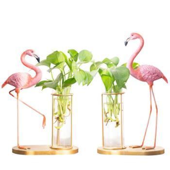 铁艺火烈鸟小清新水培植物花瓶摆件创意客厅绿萝透明玻璃瓶插花