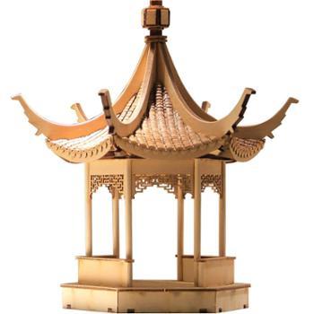 流时间可亭新中式禅意木质亭子中国古建筑模型拼接工艺摆件装饰品