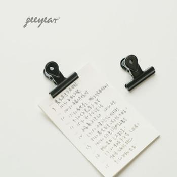 锦一 简约的黑色票据夹小夹子 哑光黑长尾夹小清新可爱试卷资料文件夹 创意学生文具 多功能燕尾夹子 2枚