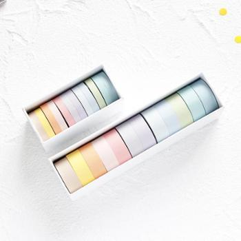 基础款纯色胶带纸彩色套装手帐diy装饰12色组合易撕和纸胶带12卷