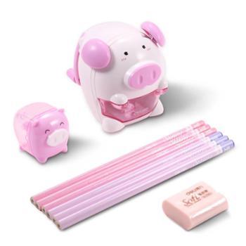 得力文具68900猪年学生套装儿童学习用品铅笔削笔机橡皮