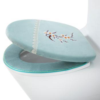 每时美家冬季马桶垫粘贴厚款四季通用垫圈带盖套装