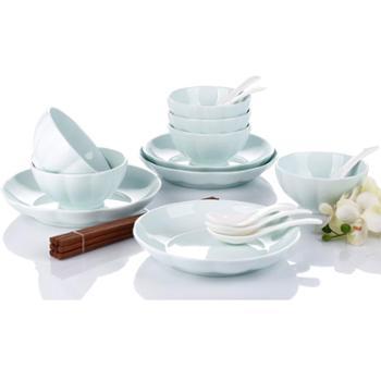 爱依瑞斯金瓜青瓷18头餐具套装 7.5寸饭盘2个 8寸饭盘2个 4.5寸饭碗6个 小玛戈汤匙4个 木筷4双