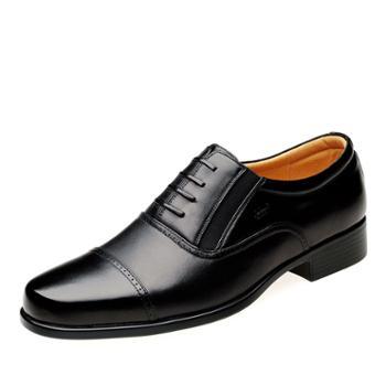金猴牛皮功勋鞋正装商务三接头皮鞋男单鞋S21626