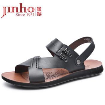金猴Jinho夏季沙滩鞋男士凉鞋牛皮轻便沙滩凉鞋Q38023B