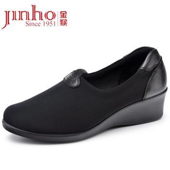 金猴(Jinho)17春秋柔软橡胶防滑耐磨舒适列装鞋日常坡跟妈妈跳舞女鞋J1110A1