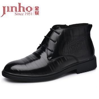 金猴冬季高帮鞋压花头层牛皮时尚短靴绒毛舒适保暖潮流皮鞋男SQ80015A