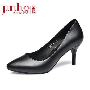 金猴新款职业OL浅口高跟鞋女士单鞋细跟黑色通勤皮鞋女Q55118A
