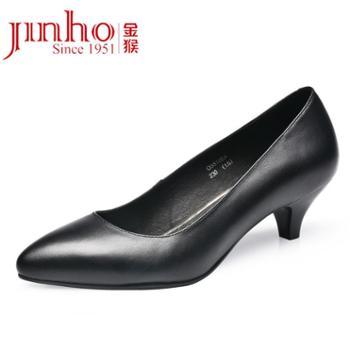金猴职业OL气质简约时尚牛皮工装女单鞋Q55108A