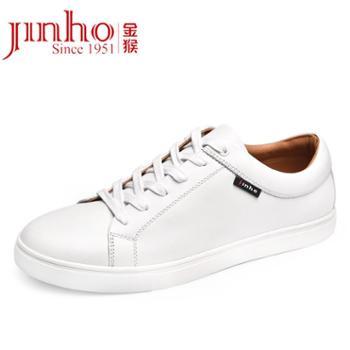 金猴平底男鞋系带板鞋日常休闲鞋透气小白鞋男版韩SQ25318A