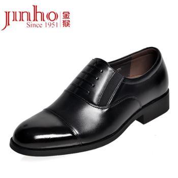 金猴(JINHOU)07式三接头加绒套脚假系带商务正装鞋办公室日常特大码男皮鞋WX612黑色常规单鞋偏大一码