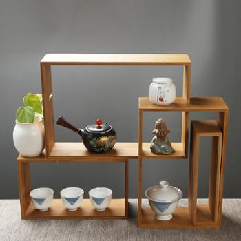 仁记竹业 竹制中式博古架 茶杯茶壶收纳柜客厅家居摆件组合置物架