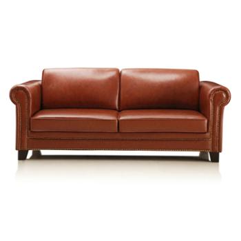 考拉乐ecoloure美式经典头层牛皮三人位沙发