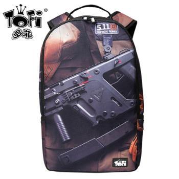 TOFI多菲潮牌书包枪支印花双肩包个性街头潮流休闲中学生滑板背包