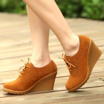 韩版潮春秋季牛皮坡跟时尚女鞋 经典厚底增高百搭粗跟女单鞋