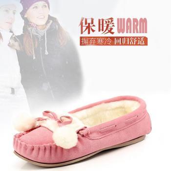包邮 鞋星新款真牛皮加绒保暖棉鞋 休闲平底室内月子孕妇妈妈鞋 毛毛鞋驾车鞋
