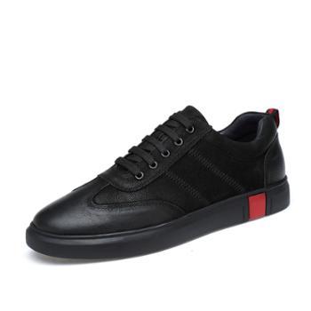 英伦时尚潮流真牛皮男板鞋系带舒适男鞋 休闲百搭黑色皮鞋子 ah1805