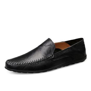 英伦范男士休闲皮鞋 一脚蹬套脚懒人鞋 四季舒适驾车鞋 XIN8008