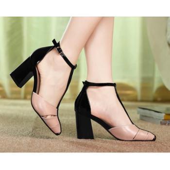 新款优雅拼色真皮女鞋子 搭扣粗高跟凉鞋