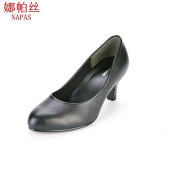 娜帕丝皮工作鞋女职业中跟圆头日本单鞋正装上班减压抗震柔软防滑