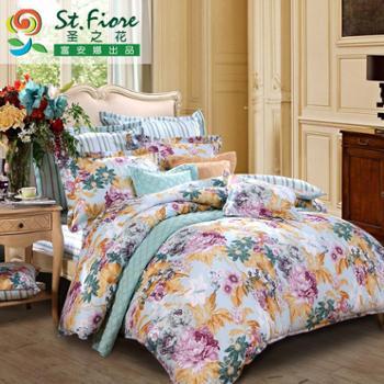 富安娜家纺圣之花床上用品四件套1.5m床单被套1.8m四件套恋恋心曲