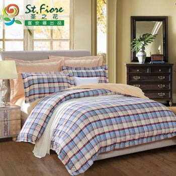 富安娜出品圣之花全棉磨毛中性厚四件套件纯棉床上用品布拉达