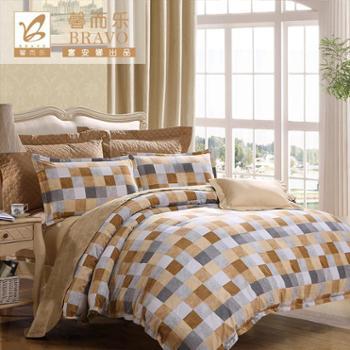 富安娜家纺中性磨毛套件四件套纯棉床上用品双人全棉床单被套