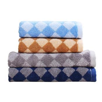 富安娜出品圣之花家居方巾面巾浴巾纯棉三件套经典系列格致时光