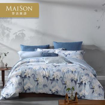 梦洁美颂棉麻印花四件套新中式典雅清新活性印花床上用品新品汐影