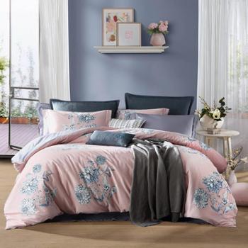 梦洁新品纯棉印花四件套陌颜新中式简约全棉床上用品床单被套套件