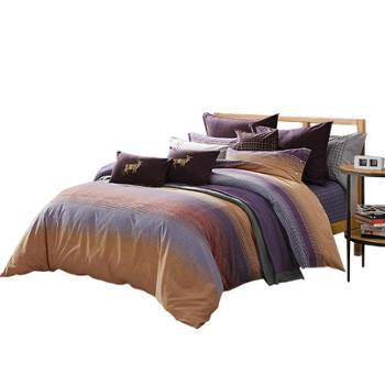 梦洁美颂 全棉纯棉磨毛印花四件套床品套件 塞纳印象