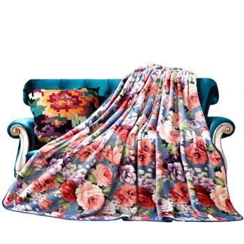 梦洁家纺 法兰绒毯毛毯双人毯毯子 花千骨180*200cm