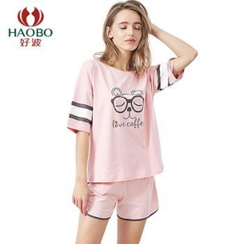 【电商款】好波女士纯棉短袖短裤可外穿套装睡衣DJZ1995