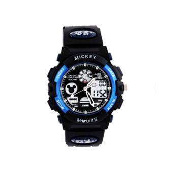 迪士尼(Disney)防水夜光儿童手表男孩蓝色米奇电子表 多功能运动表男童学生手表80008-1