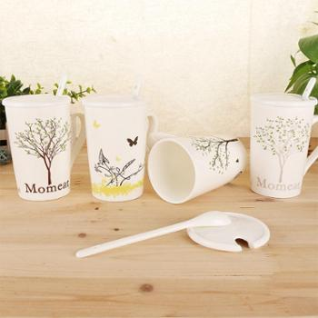 星米陶瓷骨瓷杯子带盖勺大容量马克杯陶瓷咖啡牛奶杯创意办公茶杯情侣水杯1个款式随机