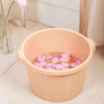 加厚加深按摩足浴桶足疗桶塑料泡脚桶足浴盆家用洗脚盆仿木桶