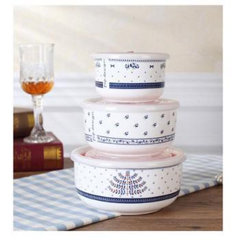 骨瓷保鲜碗三件套保鲜盒套装陶瓷带盖微波炉饭盒密封泡面碗便当盒