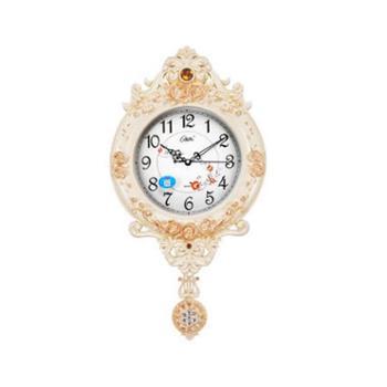 康巴丝(Compas)挂钟20英寸欧式复古摇摆客厅高档时尚挂表卧室静音石英钟2969白纹