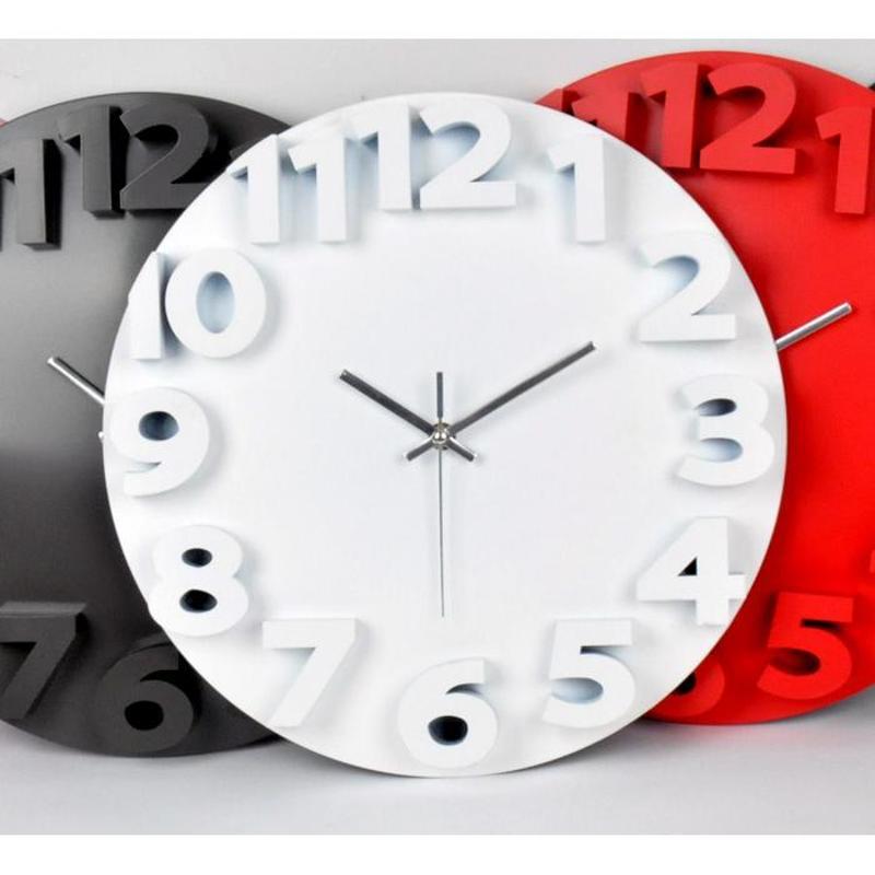 三维立体静音挂钟 创意个性卧室客厅壁钟钟表石英钟